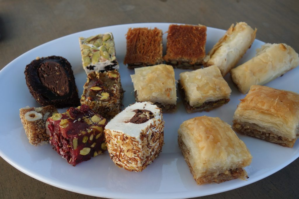 Sampler of Turkish desserts from a local shop